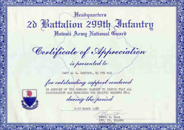 Captain A G Heffron RAE With 2nd Bn 299 Inf HI Army National – Army Certificate of Appreciation